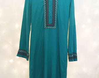 1970s Vintage Hippie Boho Dress - Turquoise with Ornate Embroidery - Beach Coverup - Long Sleeve Dress Size XS