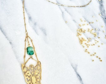 Gold Filigree Convertible Necklace, Lariat, Back Necklace, Emerald, Brass Chain