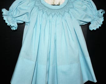 Handsmocked aqua blue dress sze 6 months