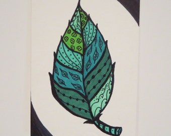 Original Zentangle Leaf Drawing ACEO (Art Trading Card)