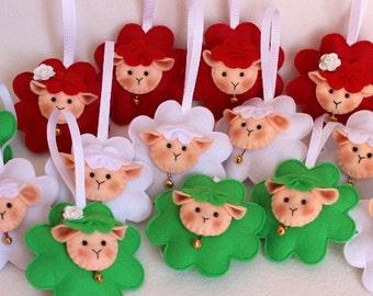 Felt Sheep ornament Felt sheep keychain white sheep lamb felt accessories eco friendly gift for him felt animals Christmas sheep ornament