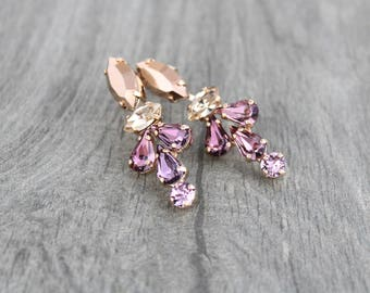 Blush Crystal earrings, Rose gold earrings, Bridal jewelry, Swarovski earrings, Long Wedding earrings, Bridesmaid earrings, Rhinestone