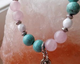 Rose quartz, turquoise bracelet