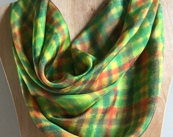 Handpainted Silk Scarf Square Orange Gold Yellow Brown Green Turquoise Plaid Handdyed Brooklyn Designer 35x35 Silk Neck Scarf Valentine Gift