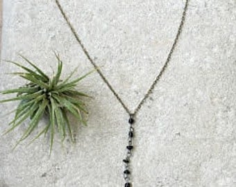 Bohemian Black Lariat Necklace, Y necklace, Y drop necklace, Boho necklace, Style
