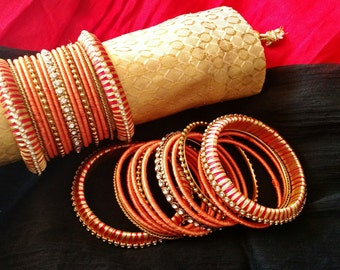 Silk Thread Jewelry ~ RED, ORANGE & GOLD  - A set of 30 Handmade Silk Thread Woven Bangles ~ Ethnic Indian Accessory ~ Favor/Return Gifts
