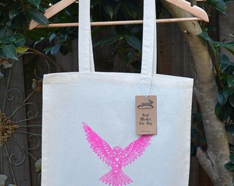 Bird Tote Bag, Cotton Market Bag, Hand Printed