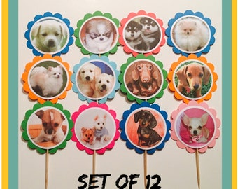 Puppies Theme Birthday | 12 Dogs Party Decorations, Puppies Cupcake Toppers, Dogs Cupcake Toppers, Puppies Birthday Party