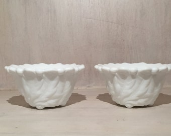 Vintage Milk Glass Candle Stick Holder  (Set of 2)