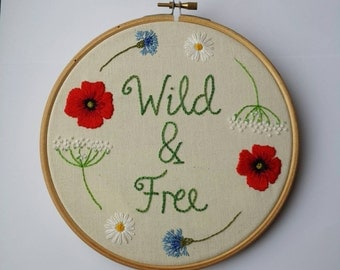 "Wildflowers Embroidery Hoopart ""Wild & Free "" Poppies, Daisies, Cornflowers. Hand Embroidered. 7 inch hoop ** READY TO SHIP * *"