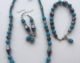 Gunmetal jewellery set - gray and blue