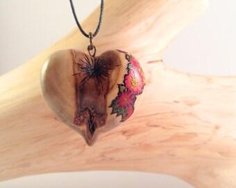 Flower Heart Pendant - wooden heart necklace, wood heart pendant, pyrography pendant, wood burned necklace, heart necklace, wood jewelry