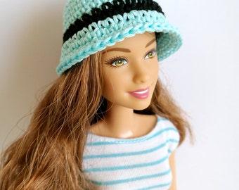 Light blue Barbie doll cloche hat, fashion doll hat