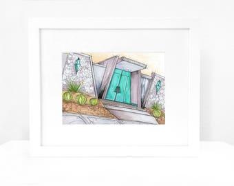 Palm Springs Modern House Architecture Urban Sketch Original Art Illustration