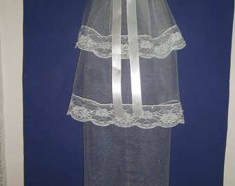 First Communion Veil, 3 Tiers Shimmering White, Satin Roses,Floral Lace,Pearls,Sequins & Streamers