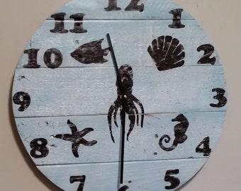 Clocks,Reclaimed wood,Beach,Nautical themed,Round 16 inch clock,pallet wood,barn wood,handmade,hand painted,housewarming gift,made in usa.