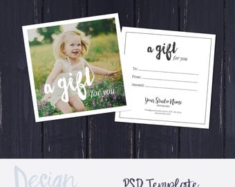 Photography Gift Certificate Template, Photo Gift Card, Printable, Square Photoshop Template, Photography Gift Card Template, A gift for you