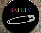 SAFETY PIN SOLIDARITY pin button clinton anti trump 2016 election protest bigotry stand in solidarity