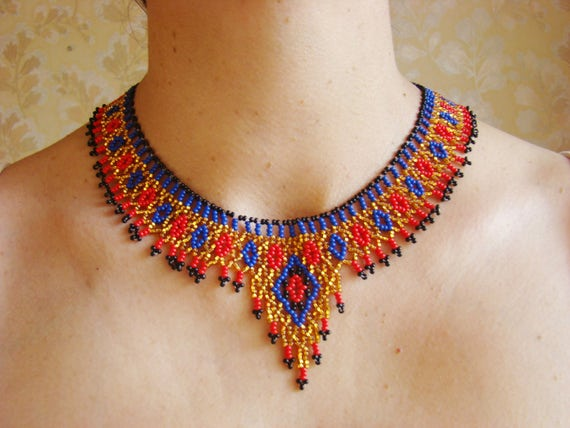 Egyptian necklace egyptian jewelry beadwork jewelry beaded for Egyptian jewelry