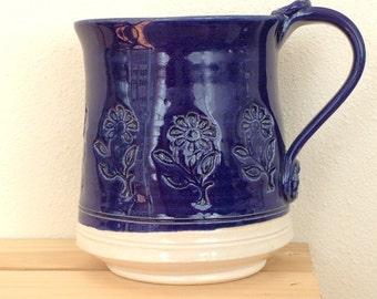 Persian Blue Handmade Ceramic Mug with Flower Stamps