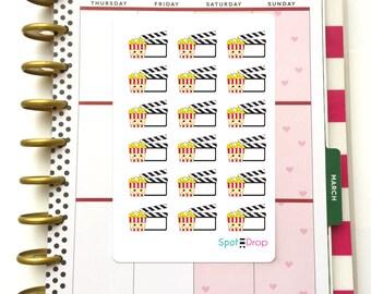 Movie Planner Stickers, Film Planner Stickers, Popcorn Kawaii Planner Stickers