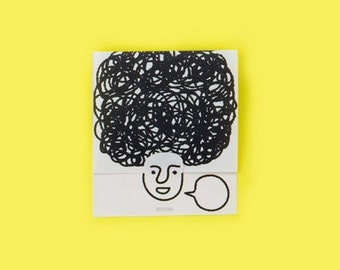 Fun sticky notes - Afro hair, Secret post it notes, Memo pad, Thank you note, Memo notepad, Japanese stationery