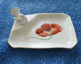 Hand painted Dresden flower pin trays