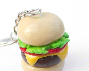 Cheeseburger Miniature  Polymer Clay Food Keychain