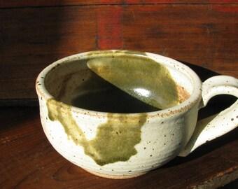 White with Green Splash: Handmade Pottery Mug, Ceramic Mug, Stoneware Coffee Cup, Cappuccino cup