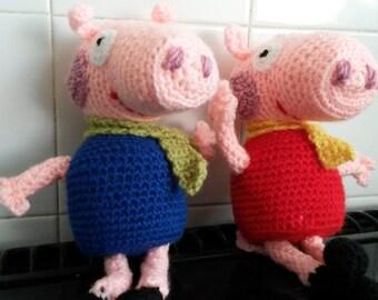 Mr & Mrs Pig. Crochet soft toy.