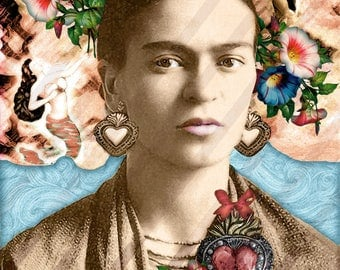 Frida Kahlo, Collage Digital Instant download. Vintage photography, Frida, Flowers, Nature. Digital Sheet-Printable. 1 JPG Format.