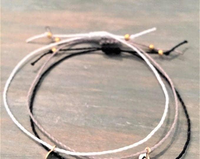 Tiny Initial Charm Bracelet, Gold Customized Charm Bracelet, Gold Customized Initial Bracelet, Delicate Charm Bracelet,Initial Cord Bracelet