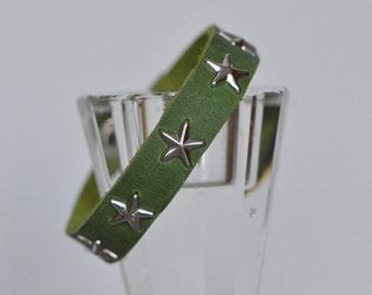 Green bracelet, lime green leather bracelet, silver star-studded bracelet, star bracelet, summer jewellery, handmade by AnyaSophiaCo