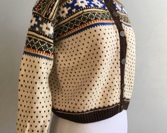 Vintage Handmade Handknit Cardigan Sweater