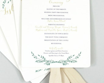 Elegant Gold Script with Greenery Wedding Program Fans // Fully Assembled Wedding Program Fans
