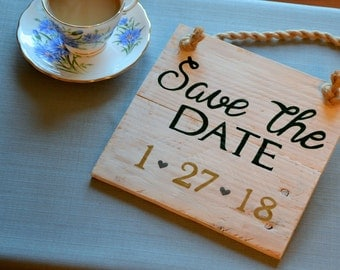 Save the Date, wooden sign