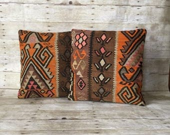 Set of Two Vintage Kilim Pillow Covers in Orange and Brown