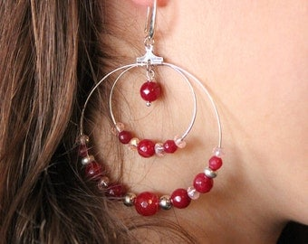 Hoop earrings with crystals and semiprecious shades of Red