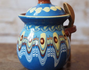 Retro Pottery Jam or Honey Pot