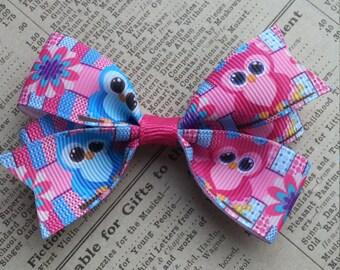 Owl Hair Bow, girls hair bows, cute hair, kawaii, owl favors, loot bag, hair bow favors