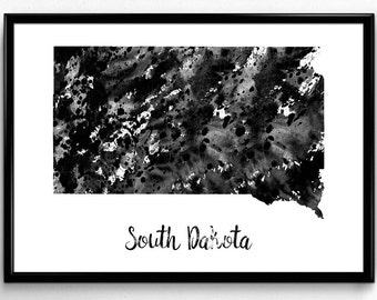Map of South Dakota, United States of America, Black and White Map, Travel, Watercolor, Room Decor, Poster, gift, Print, Wall Art (774)