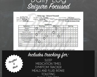 Seizure Diary Instant Download Printable PDF, Autism Binder, Medical Binder, Health Care Binder, Seizure Care, Autism Printables