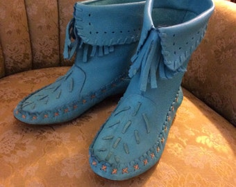 Vintage 1980 9 West Turquoise Navajo Moccasin Ankle Boots 7 1/2 med