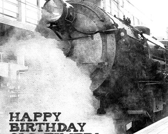 OLD TIMER TRAIN Steamtrain Handmade Birthday Card, Blank Card & Envelope,Edited Photography, something different.