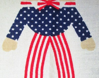 "Vintage Cut and Sew Fabric Panel ""Liberty Humpty Dumpty"" Cloth Rag Doll, Patriotic 4th of July Americana, Red White & Blue Stars + Stripes!"