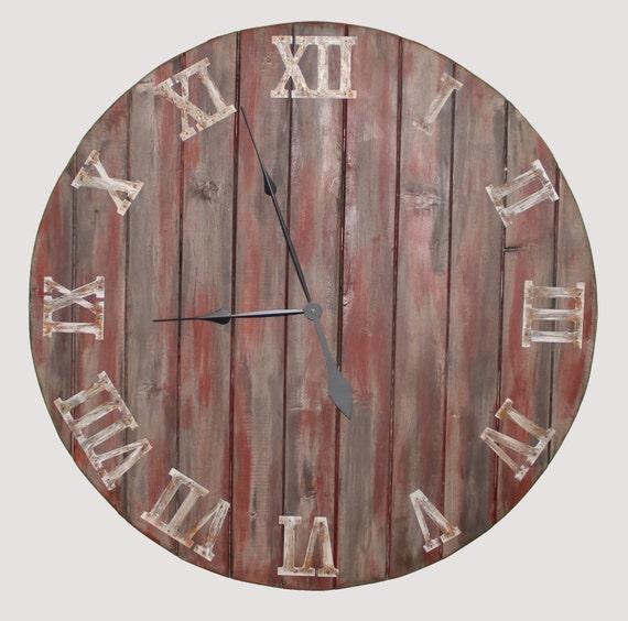 20 36 farmhouse oversized wall clock handmade wooden