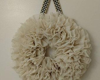 Wreath made with beige Shelf Liner