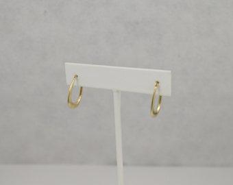 14k Yellow Gold Oval Hoop Pierced Earrings
