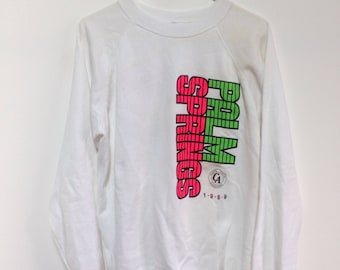 Vintage Palm Springs tourist white sweatshirt california nein gradient