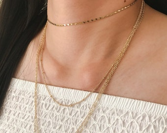 Delicate Gold Choker, Tattoo Chain Necklace, Layering Necklace, Bohemian Jewelry, Dainty Necklace, Dainty Gold Choker, Simple Chain Choker V